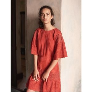 Maje Rops Embroidered Dress with Guipure Red 1 NWT